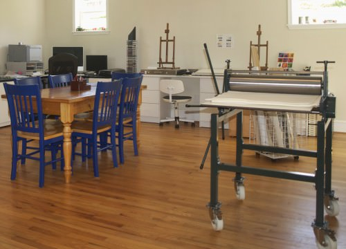 Shenandoah art destination studio 2 with printing press