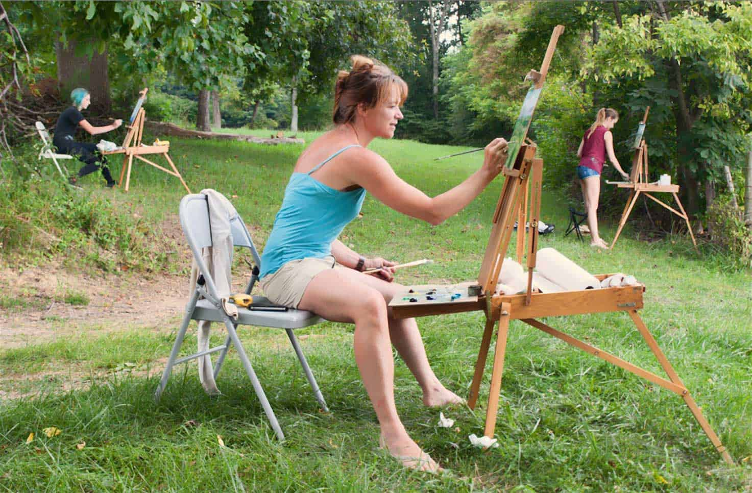 Plein air painting three women