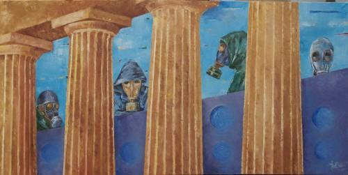 4-pillars-gasmasks-oil-on-canvas-jwboer-18x36