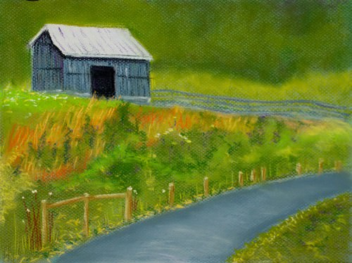 barn-on-the-hill-pastel