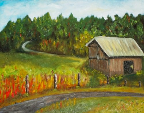 barn-road-oil-painting