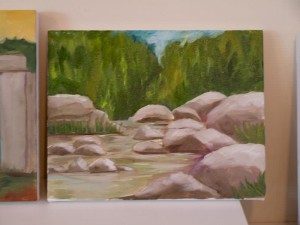 student-oil-paiting-river-rocks
