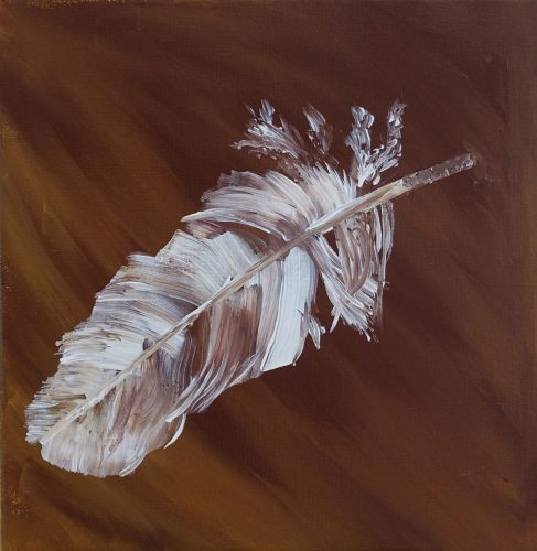 feather oil painting