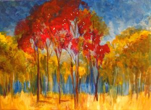 trees in oil paint